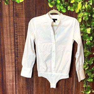 J Crew: Button Down Long Sleeve White Bodysuit